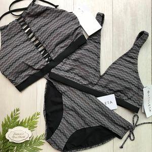 3 Piece ATHLETA Jacquard Bikini Swim Set NWT M
